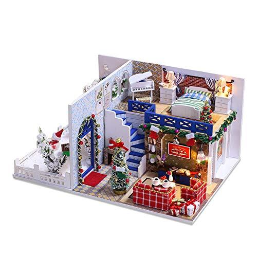 Weihnachten Miniatur Puppenhaus Kit Weihnachtsbaum Schneemann Weihnachtsstrumpf Dollhouse Miniature DIY House Kit 3D Holzhaus mit Leuchten Home Christmas Decor Geschenke für Jungen und Mädchen