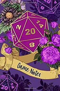 D20 Game Notes: Fantasy Roleplayer Notebook, Purple Vintage Roses Floral Dice 20 Journal, Tabletop Boardgame Players Strategy Writing Record
