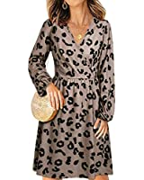 STYLEWORD Women's V Neck Long Puff Sleeve Casual Swing Leopard Midi Dress with Pocket(560Leopard01, M)