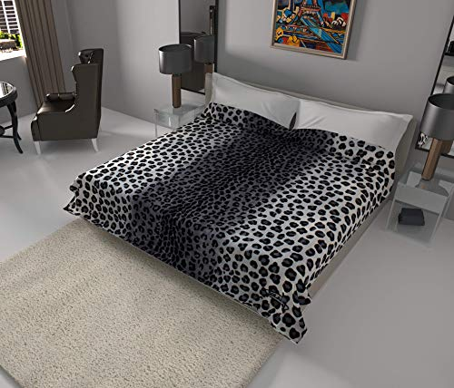 SOLARON Super Thick Heavy Weight Ultra Silky Soft Mink Heavy Duty Reversible Blanket Bed comforters bedspreads Bedding Comforter King or Queen (King, Leopard Grey)