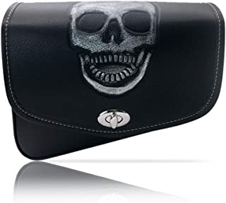 Motorcycle Saddlebags with Skull Pattern, Black Leather Motorcycle Windshield Bag, Right Side Motorcycle Fork Bag