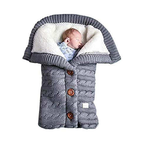 Newborn Baby Swaddle Blanket Fleece Stroller Wrap Nap Blanket Plus Velvet,Baby Kids Toddler Thick Knit Soft Warm Blanket Swaddle Sleeping Bag Photography Props (Grey-P1)