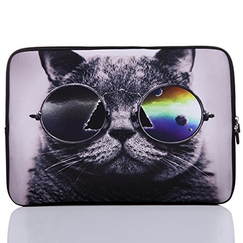 TAIDY 13.3-Inch to 14-Inch Neoprene Laptop Sleeve Case for 13 13.3 13.9 14 14.1' Inch MacBook Air Pro/Notebook(13.3-14 Inch, Grey Cat)