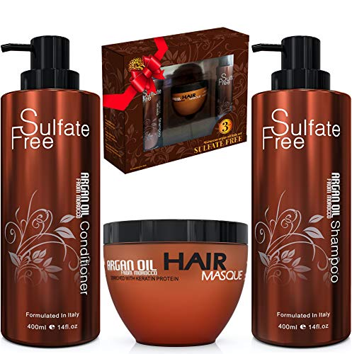 Moroccan Argan Oil Shampoo Conditioner and Hair Mask | Sulfate Free Gift Set Best for Damaged, Dry, Curly or Frizzy Hair - Thickening for Fine/Thin Hair Safe for Color and Keratin Treated Hair