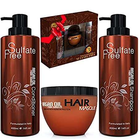 Beauty Shopping Moroccan Argan Oil Shampoo Conditioner and Hair Mask | Sulfate Free Gift Set Best