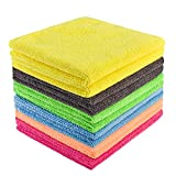 YSLON Microfiber cleaning cloth,Multi-purpose Cleaning rags for Household kitchen,High absorption,Lint-free stripes,Reusable. (12-Pack)