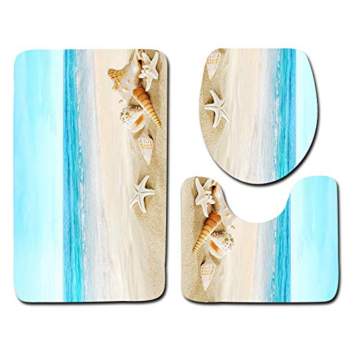 HMQQ Badmat, set van 3, Beach Serie douchemat en toiletdeksel, antislip en extra zachte toiletset, antislip tapijt, F
