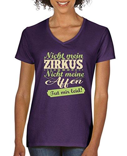 Comedy Shirts - Nicht mein Zirkus, Nicht Meine Affen. TUT Mir leid! - Damen V-Neck T-Shirt - Lila/Hellgrün-Beige Gr. L