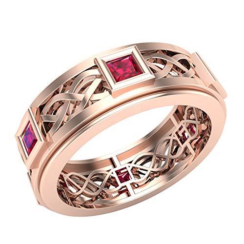 Glitz Design Niños Hombre Unisex Mujer oro 14 quilates (585) oro rosa 14ct talla princesa Ruby