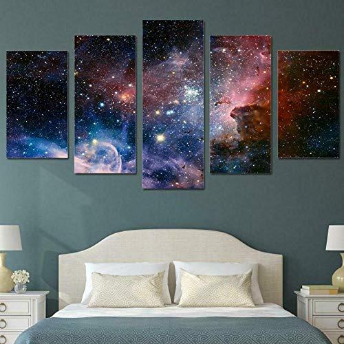 72Tdfc - Cuadros Impresos En Lienzo Que Brillan En La Oscuridad 150X80Cm - 5 Piezas - Premium Lienzo De Tejido No Tejido XXL Galaxia Espacio Exterior Universo Estrellas