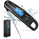 Powlaken Meat Food Thermometer for Grill and Cooking, Instant Read Waterproof Digital Kitchen Thermometer Probe for Grilling Smoker Oil Deep Fry Candy(Black)