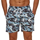 SILKWORLD Men's 7 inch Swim Trunks Quick Dry Bathing Suit with Pockets Running Shorts, Camouflage/Light Gray Blue, Large