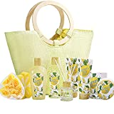 Spa Gift Baskets for Women- 10 Pcs Lemon Scent in Home Bath Set in Beautiful Tote Bag, Best Women Gifts Set for Mother's Day Birthday Christmas