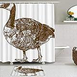 Ngkaglriap Juegos de Cortinas de baño con alfombras Antideslizantes, Ganso Grabado Antiguo Dibujo Canadá Pato Xilografía Bosquejo Temas Animales,con 12 Ganchos