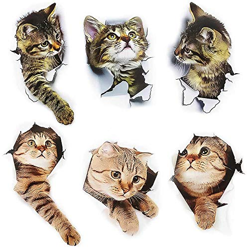 Rayong 6 Stück 3D Katzen Wandtattoo, Katzen Aufkleber, Katze Wandtattoo, Katze Wandaufkleber für Toilette Badezimmer Schlafzimmer Kinderzimmer Küche