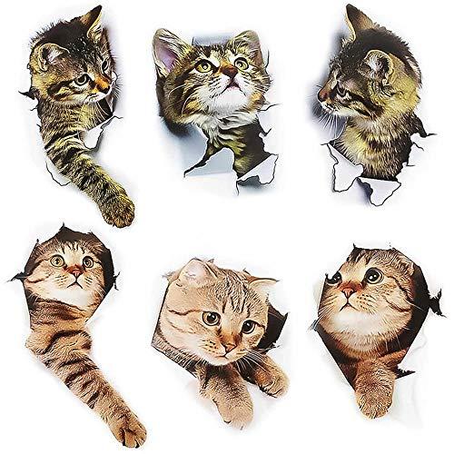 Rayong 6 Pezzi Adesivi con Gatto, Adesivi da Parete Gatto, Adesivo Gatto, Adesivi Murali 3d Gatto ,3D Adesivi Vivid Decori Murale (Cat) per Frigorifero, Cucina, Camera