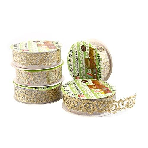 Yosoo 5 Rollen Lace Decor Kreatives Klebebänder Glitter Gold Pulver Spitzenband Selbstklebend Washi Tape Spitze Dekobänder Papier Aufkleber Kunsthandwerk DIY - ca. 100x18 mm (Golden)
