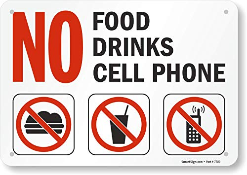 SmartSign - S-4892-PL-10 'No Food, Drinks, Cell Phone' Sign | 7' x 10' Plastic Black/Red on White