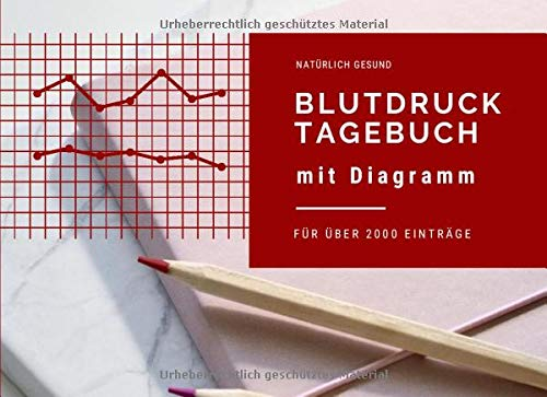 Blutdrucktagebuch mit Diagramm: für über 2000 Einträge, täglich mehrmals messen und eintragen (Blutdrucktagebuch im Querformat, Band 3)
