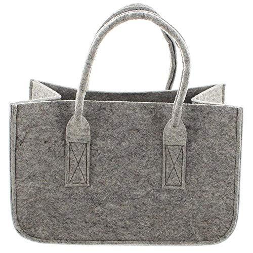SIDCO Filztasche Handtasche Einkaufskorb Filz Tragetasche Einkaufstasche Shopper grau
