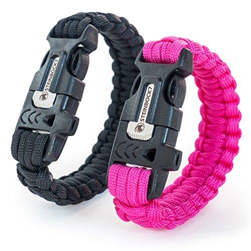 Steinbock7 Juego de 2 pulseras de supervivencia, color negro y rosa, paracord + silbato, pedernal + cuchillo, instrucciones para trenzar