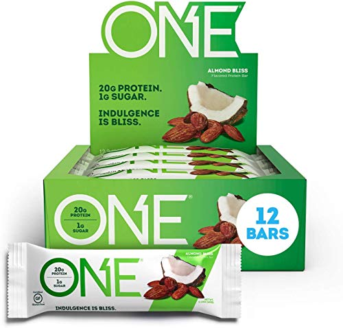 ONE Protein Bars Almond Bliss Gluten Free Protein Bars with 20g Protein and only 1g Sugar GuiltFree Snacking for High Protein Diets 212 oz 12 Pack