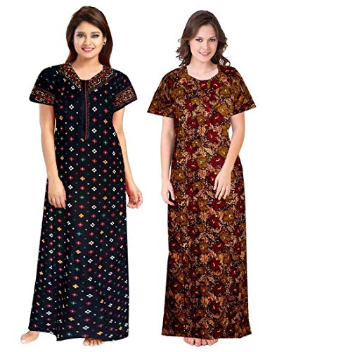 NEGLIGEE Women's Cotton Printed Ankle Length Nighty - Free Size (Pack of 2)