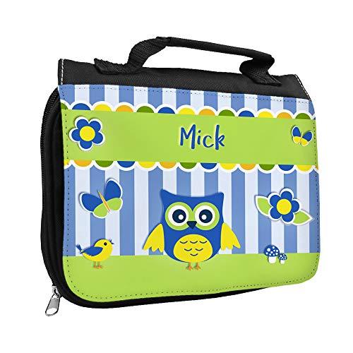 Kulturbeutel mit Namen Mick und Eulen-Motiv | Kulturtasche mit Vornamen | Waschtasche für Kinder