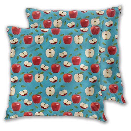 Youdeem-home Pillow Covers Red Delicious Healty Food Fall Thanksgiving Farmhouse Decorative 18' x 18' | Set of 2 (Insert Not Included)