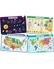 merka Kids' Educational Placemats – Reusable, Non-Slip, Silicone Plastic Mats for Kitchen Counter or Dining Table – Set of Mats
