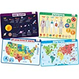 merka Kids' Educational Placemats – Reusable, Non-Slip, Silicone Plastic Mats for Kitchen Counter or Dining Table – Set of 4 Mats Featuring The Solar System, The Human Body, USA Map and World Map