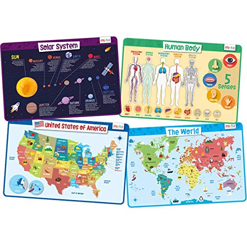 merka Kids Placemats Educational Placemat Non Slip Explorer Set Solar System Human Body USA World Map Silicone Plastic Placemat for The Dining and Kitchen Table