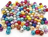 Perlin 500Stk Wachsperlen 8mm Mix Bunte Kunststoff Acryl Perlen Tischdeko Hochzeit Rund Drahtsterne Streudeko Perlmutt Perlensterne Basteln Wachs-Perlen Wax Beads P52