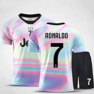 Hhwei Men Jerseys Set NBA Juventus F.C #7 Ronaldo Uniform Summer Embroidered Shirt Vest Shorts Commemorative Edition Football Suitwrinkle Resistance Breathable Training Wear Sportswear Fans Gift,XL