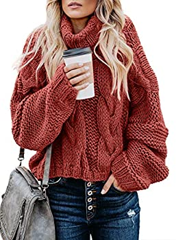 FARYSAYS Women s Turtleneck Sweater Long Sleeve Casual Loose Chunky Knit Pullovers Jumper Outerwear Red X-Large