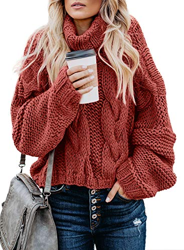 ZKESS Women Casual High Neck Long Batwing Sleeve Chunky Cable Knit Loose Baggy Fit Sweater Pullover Top Red Small Size