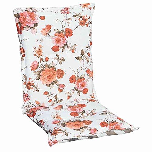 Madison 7MONLF083Meike Auflage niedrig, Wendekissen Dessin Blumen Streifen 75% Baumwolle 25% Polyester, coral