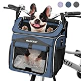 BARKBAY Dog Bike Basket Carrier, Expandable Foldable Soft-Sided Dog Carrier, 2 Open Doors, 5 Reflective Tapes, Pet Travel Bag,Dog Backpack Carrier Safe and Easy for Small Medium Cats and Dogs(Blue)