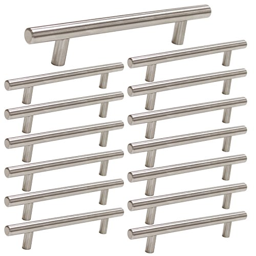 15 Pack | Cabinet Handles Brushed Nickel Round Bar Cabinet Pulls 5in Hole Center homdiy - HD201SN Stainless Steel Drawer Pulls Kitchen Cabinet Handles Cupboard Handles 15 Pack