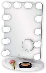 Posh Lighted Vanity Mirror Lite, Hollywood Style Vanity Mirror with Lights, Dimmable LED Lights with 3 Colour Settings, Includes 10X Magnification Mirror with Suction Cups