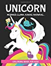 Unicorn coloring book. Mermaid, Llama, Kawaii, Narwhal: XL SIZE. For Kids 2-10 years old. Toddler, adults and Unicorns lover. Cute Illustrations. Black background. #Stayathome Stay at home activities. Homeschooling. WFH. Preschool.