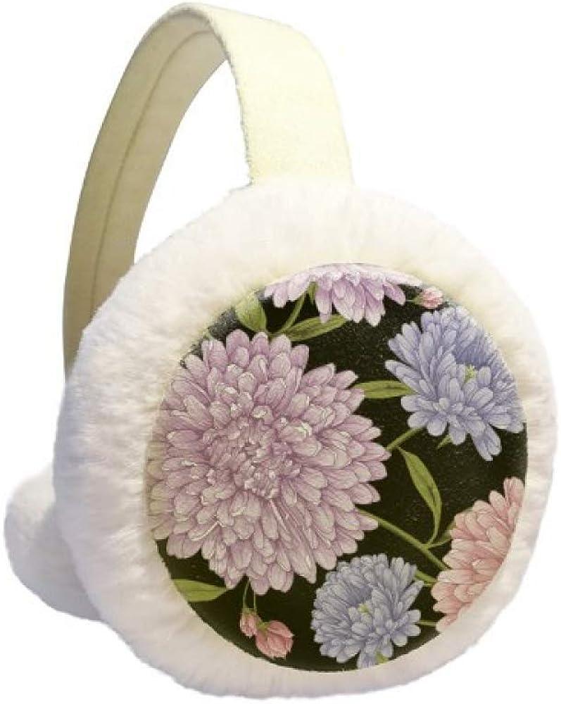 Lotus Drawing Art Plant Flower Winter Earmuff Ear Warmer Faux Fur Foldable Plush Outdoor Gift