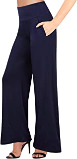 GlorySunshine Women's Elastic Waist Solid Palazzo Casual Wide Leg Pants with Pockets