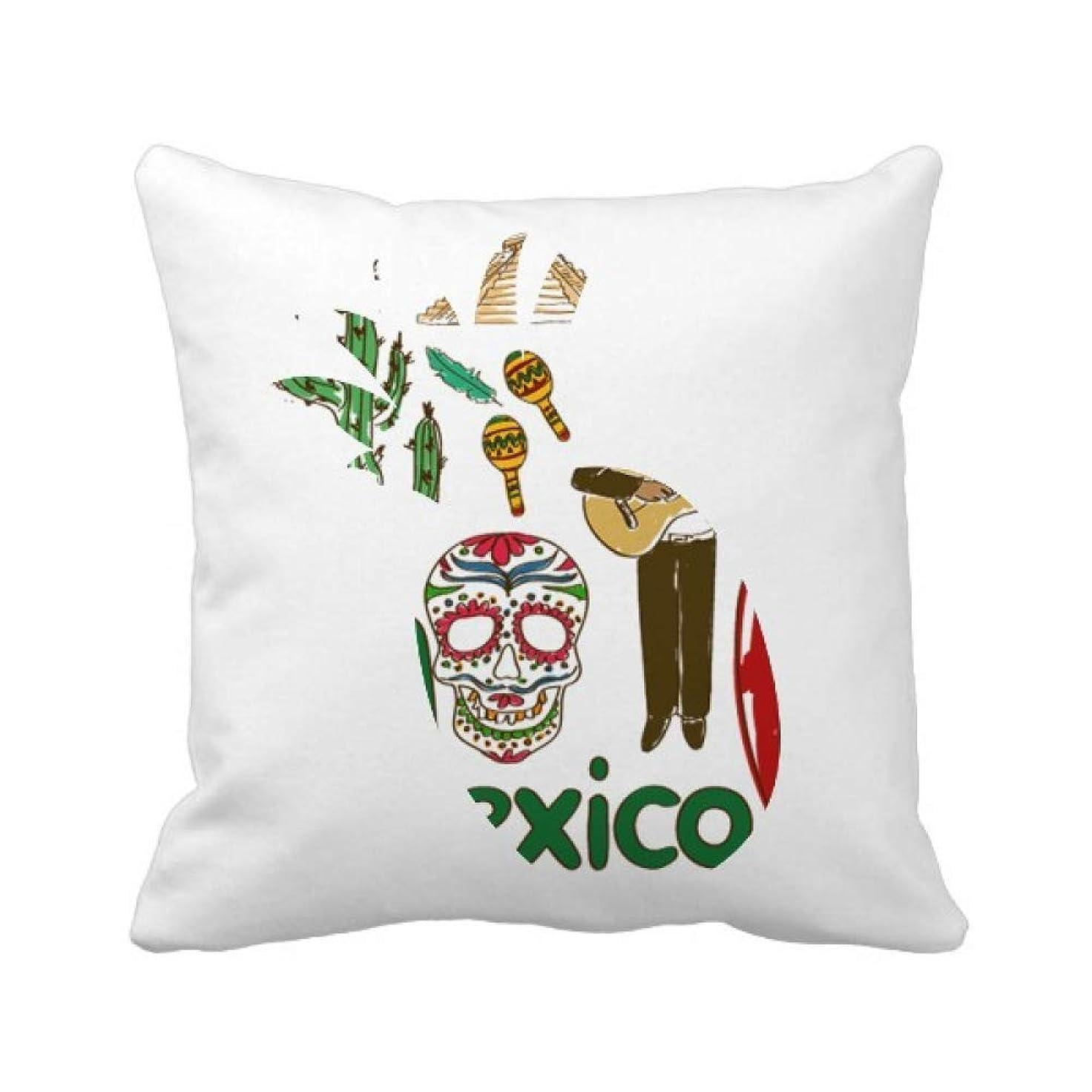 草酔ったシーンメキシコの国家の象徴のランドマークのパターン パイナップル枕カバー正方形を投げる 50cm x 50cm