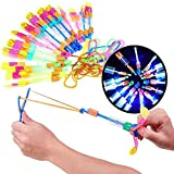 JUYAN 25 Pcs Rocket Copters - Amazing Slingshot LED Helicopters Toy Rocket, Outdoor Light-up Slingshot Glowing Arrows Shooters