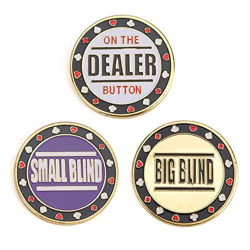 GOGO Juego de 3 botones de metal para póquer – Persiana pequeña, ciega grande y distribuidor