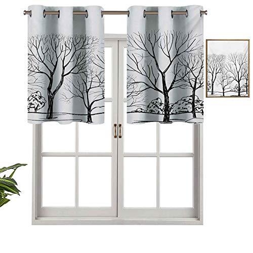 Hiiiman Cortinas térmicas aisladas 100% opacas, con cenefa de árbol sin hojas, ramas de bosque, dibujadas a mano, ilustración otoñal, juego de 2, 137 x 60 cm para dormitorio con ojales
