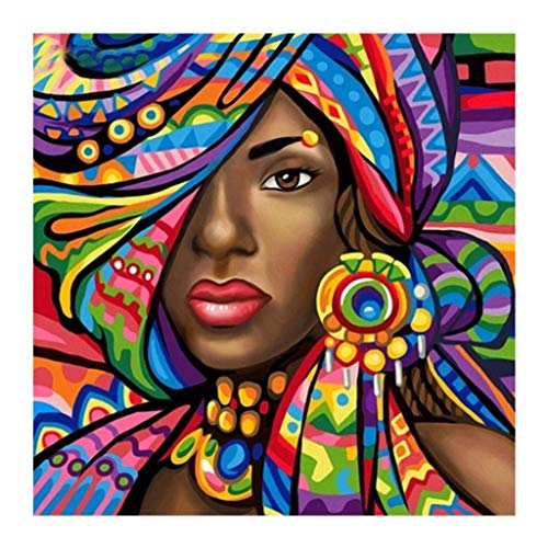 Diamond Painting Kit for Adults, BENBO 15.8x15.8In African Woman DIY 5D Full Drill Crystal Diamond Painting by Number Kits Cross Stitch Rhinestone Embroidery Pictures Arts Craft for Home Decor