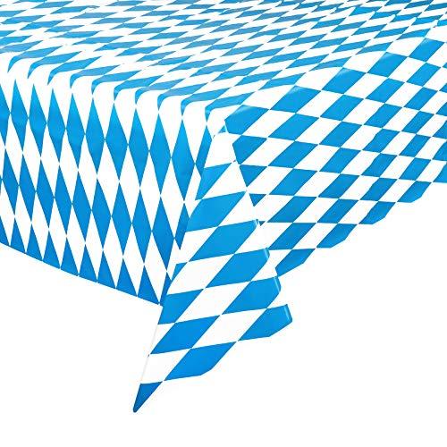 2 Stück Plastik Tischdecke Oktoberfest 128 * 275cm Tischdecke Bayern Bayerisch Blau Weiß für Biertisch Oktoberfest Party Dekorationen und Zubehör