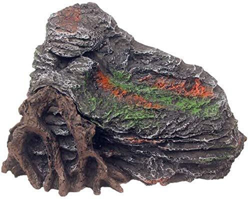 MTCWD Reptiles Hideout Pescado decoración del Tanque y Cuevas de Anfibios terrario Tortuga del tocón de árbol Secado Plataforma Hábitat Decoración